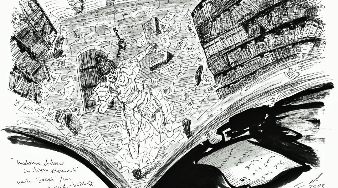 """VERANSTALTUNG VERSCHOBEN: Michael Blümel widmet sich als Künstler und Illustrator Annette von Droste-Hülshoff auf vielfältige Weise. Der Band """"federlesen"""" gibt einen Einblick in seine Arbeit. Foto des Werks von Michael Blümel: Claudia Ehlert"""