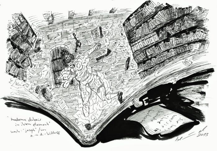 """Am Freitag, 2. Oktober 2020, schwingt Micheal Blümel zur Buchpräsentation """"federlesen."""" den Tuschestift beim Live-Zeichnen. Foto: Claudia Ehlert"""