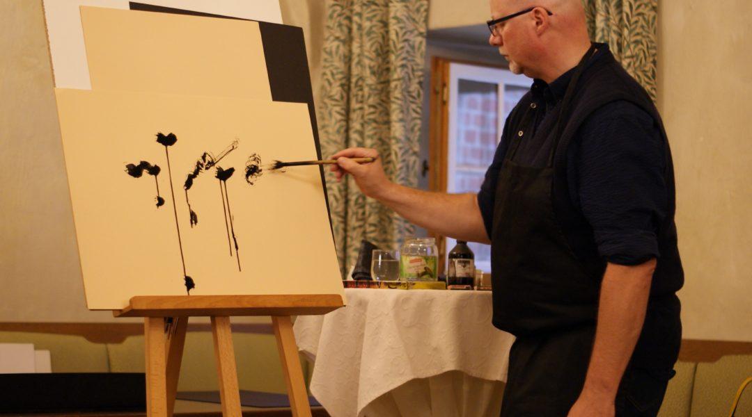 Michael Blümel zeichnet live zu Werken Drostes
