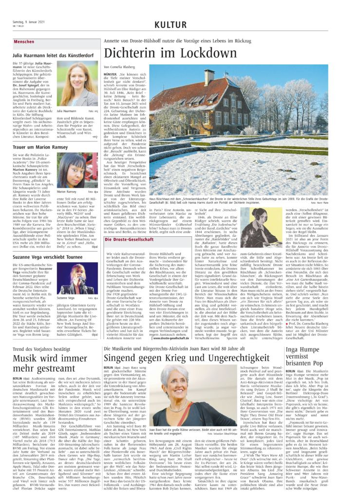 Artikel aus den Westfälischen Nachrichten vom 9. Januar 2021